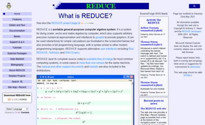 Reduce-algebra sourceforge net website  REDUCE Computer Algebra System
