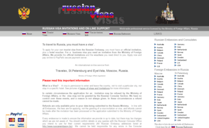 Russianvisas org website  Russian Visa invitations on-line