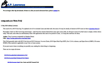 Scofaq aplawrence com website  Comp unix sco Meta FAQ