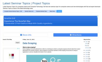 Seminarprojecttopics blogspot in website  Latest Seminar