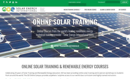 Solarenergytraining org website  Online Solar Training and Renewable