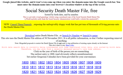 Ssdmf info website  Social Security Death Master File free