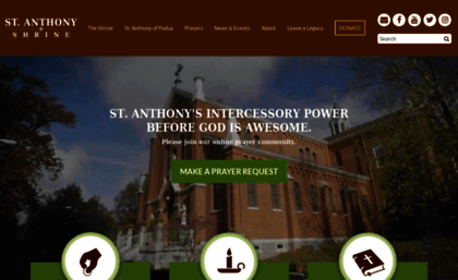 Stanthony org website  Home Page - St  Anthony Shrine