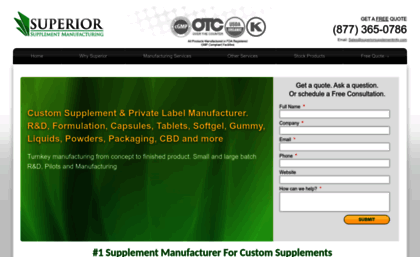 Superiorsupplementmfg com website  Private Label Supplement