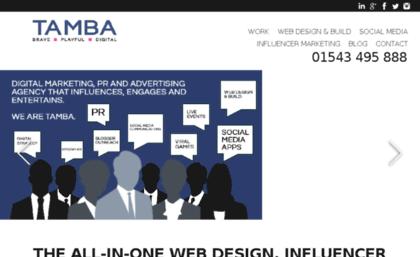 Tamba co uk website  Social Media Agency / Influencer Marketing