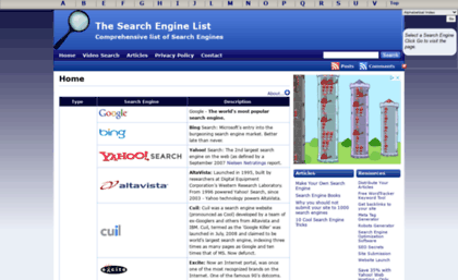 Thesearchenginelist com website  The Search Engine List