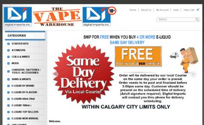 Thevapewarehouse ca website  Digital Imports Inc  E-cig Vape shop