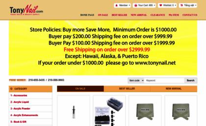 Tonynail.com website. Nail Supplies, Texas Discount Nails & Beauty ...