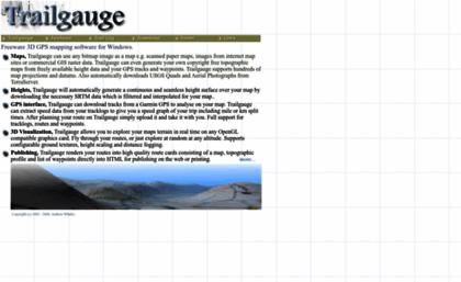 Trailgauge com website  Trailgauge - Freeware 3D GPS Mapping Software