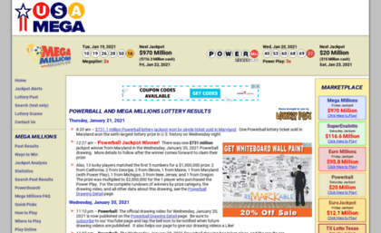 Usamega com website  USA Mega | Powerball and Mega Millions