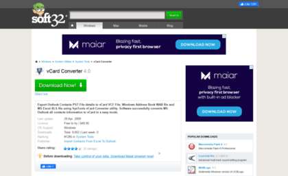 Vcard-converter soft32 com website  Download vCard Converter