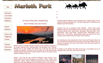 Visitafricacoza Website Marloth Park Home Page