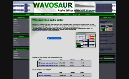 Wavosaur com website  Wavosaur free audio editor with VST