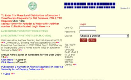 Webland telangana gov in website  Web Land Records::Login Page