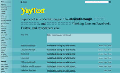 Yaytext Com Website Yaytext A Text Styling Tool For Facebook Twitter Etc Text made with this tool can be pasted into facebook and twitter posts, etc. websites milonic com